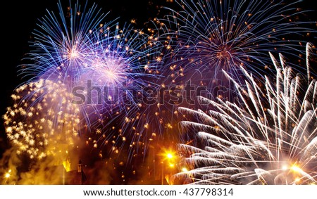 Abstract holiday background - fireworks with copy space - stock photo
