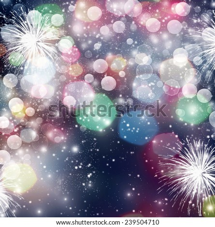 Abstract holiday background with fireworks and stars - stock photo