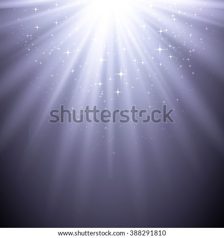 Abstract holiday  magic light backgroud with star. Sunburst rays. Silver color - stock photo