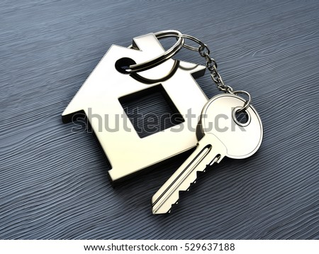 Abstract home and key on wooden table. 3d illustration