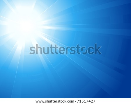 Abstract horizontal background, asymmetric light burst with the center in the upper left third. Vector version available.