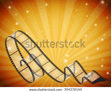abstract horizontal background with retro film strip, rays and stars. Raster version - stock photo