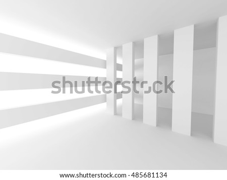 Abstract Horizontal Minimalistic Architecture Design. Empty Room Interior Background. 3d render illustration