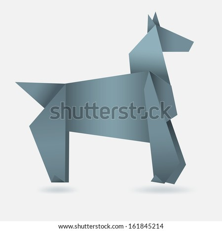 Abstract horse, paper origami, 2014 year symbol