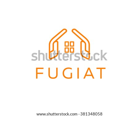 Abstract house hands line logo design template. Premium real estate sign. Universal protection care home realty business icon. Negative space idea logotype - stock photo