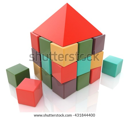 Abstract house made of children blocks 3d in the design of the information required to design structures. 3d illustration - stock photo