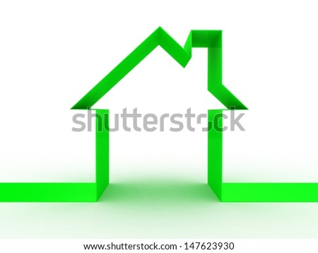 Abstract house on white background, 3D image