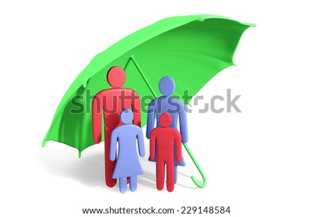 Abstract human family of four under umbrella. Conception of safety - stock photo