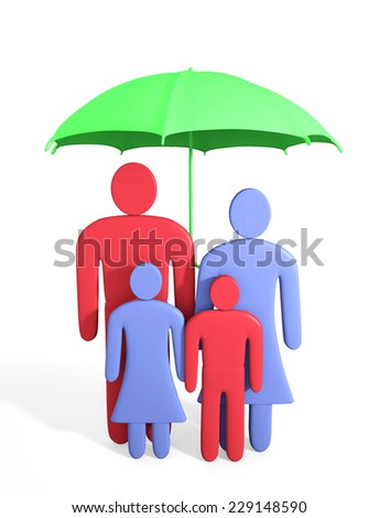 Abstract human family under umbrella. Conception of safety - stock photo