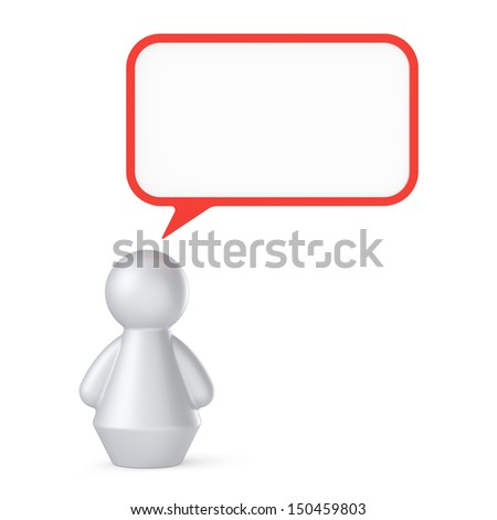 Abstract human figure with speech bubble  isolated on white background.