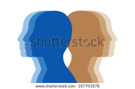 Abstract human heads, profiles illustrating the concept of personality and diversity. - stock photo