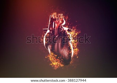 Abstract human heart in flame and smoke - stock photo