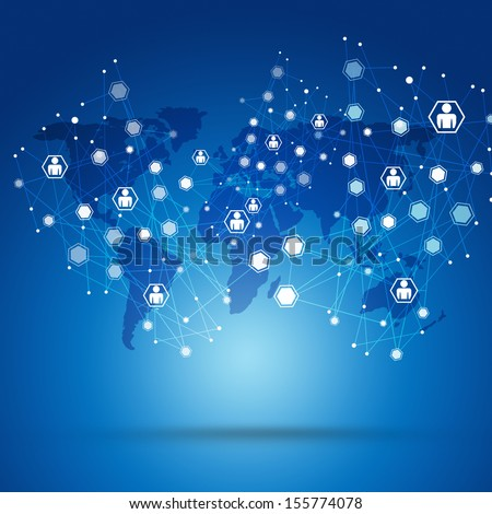 abstract human net global connections concept blue background - stock photo