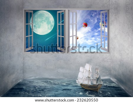 Abstract idea inside someones mind surrounded by limitation daily routine walls, no escape chance for future only dreams. Boat drifts in room with ocean water no course, windows with moon daylight sky - stock photo