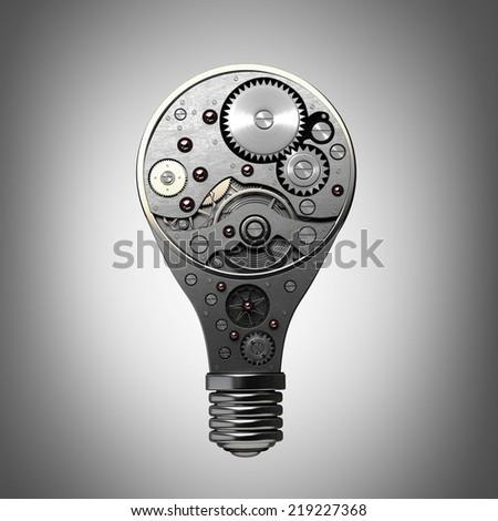 abstract idea. Light bulb with gears inside - stock photo