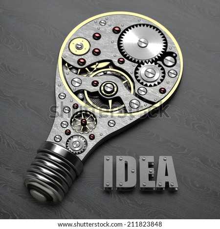 abstract idea. Light bulb with gears inside. 3d High resolution - stock photo