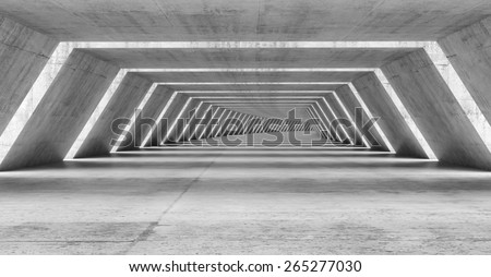 Abstract illuminated empty bent corridor interior made of gray concrete, 3d illustration - stock photo