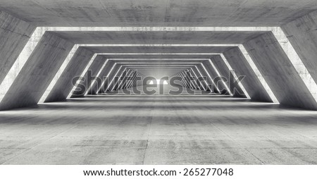 Abstract illuminated empty corridor interior made of gray concrete, 3d illustration - stock photo