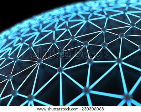 Abstract illuminated network close-up with shallow depth of field - stock photo