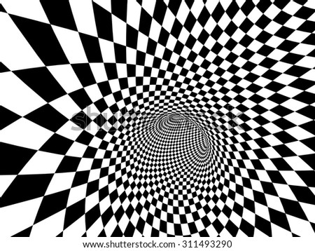 Abstract illusion. Black and white - stock photo