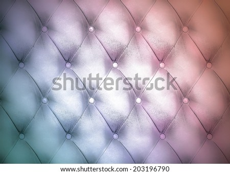 Abstract illustration background texture of an old natural luxury modern style leather with rhombs. Classic light blue and dark red grungy skin of retro wall, door, sofa, studio interior with buttons. - stock photo