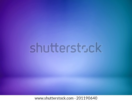 Abstract illustration background texture of beauty set with dark, light violet, lilac, purple, mauve, magenta, lavender, blue, azure, cyan gradient wall, flat floor in empty space darken room interior - stock photo
