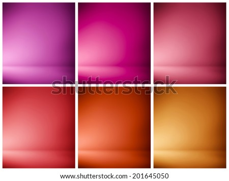 Abstract illustration background texture of beauty set with dark, light violet, lilac, purple, magenta, crimson, scarlet, red, orange gradient wall, flat floor in empty spacious darken room interior - stock photo