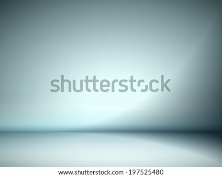 abstract illustration background texture of cyan wall, flat floor in empty room. - stock photo