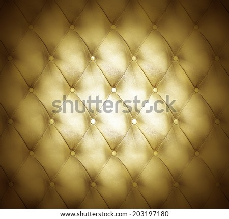Abstract illustration background texture of golden old natural luxury modern style leather with rhombs Classic light and dark yellow grungy skin of retro wall, door, sofa, studio interior with buttons - stock photo