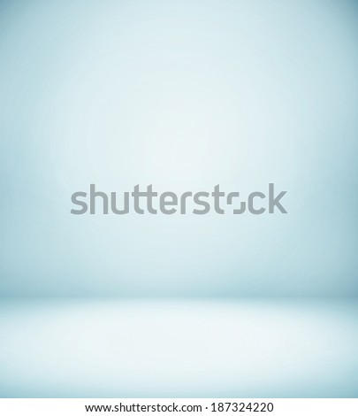 Abstract illustration background texture of light blue and gray gradient wall, flat floor, white ceiling and sides from metal in empty spacious room interior - stock photo