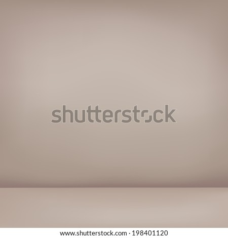 abstract illustration background texture of light coffee gradient wall, flat floor in empty room.  - stock photo