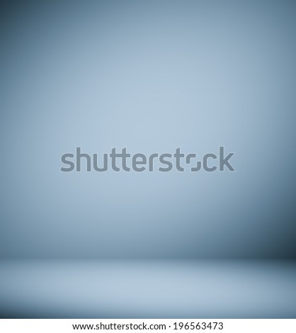 Abstract illustration background texture of light gray and blue gradient wall, flat floor, sides from metal in empty spacious room interior