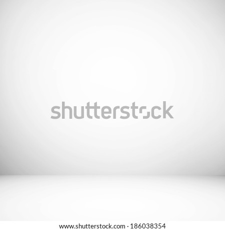 Abstract illustration background texture of light gray and blue gradient wall, flat floor, white ceiling and sides from metal in empty spacious room interior with mist and haze - stock photo
