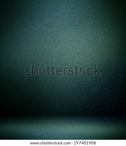 Abstract illustration background texture of light gray and dark blue, black gradient wall, flat floor, sides from metal in empty spacious room interior - stock photo