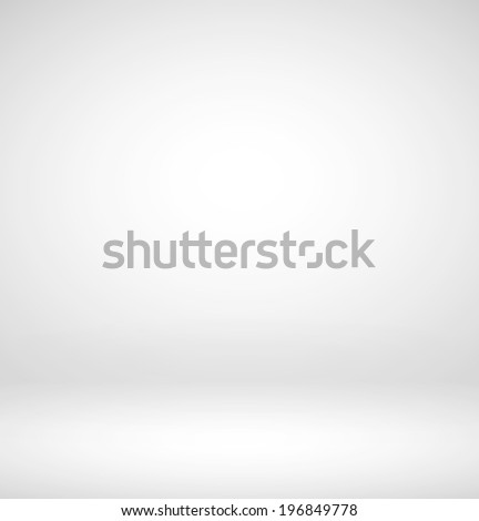 Abstract illustration background texture of light gray and white gradient wall, flat floor, sides from metal in empty spacious room interior - stock photo
