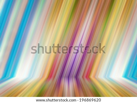 Abstract illustration background texture of light red, orange, yellow, green, purple, lilac and blue bright color gradient wall, flat floor, striped sides from metal in empty spacious room interior. - stock photo