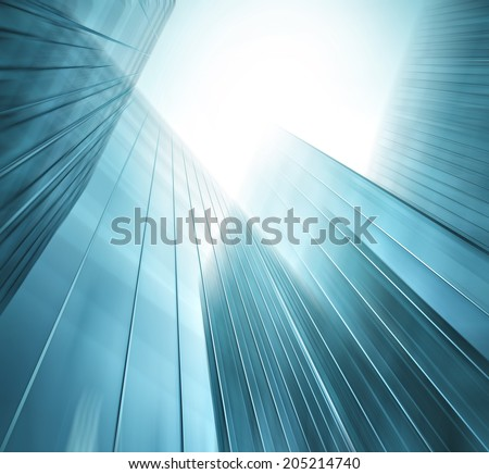 Abstract illustration background texture of perspective wide angle view to steel light blue glass surface, high rise building skyscraper commercial modern city of future Business industry architecture - stock photo