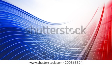 Abstract illustration background texture of perspective wide angle view to steel light red glass surface, high rise building skyscraper commercial modern city of future. Business industry architecture - stock photo