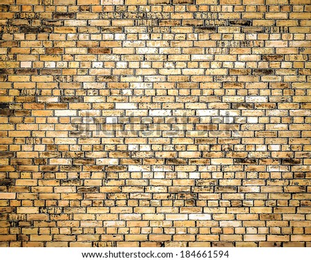 Abstract illustration background texture of stained old stucco brown and painted red, yellow brick wall in rural room. Grungy rusty blocks of stonework tech darken retro color architecture wallpaper. - stock photo