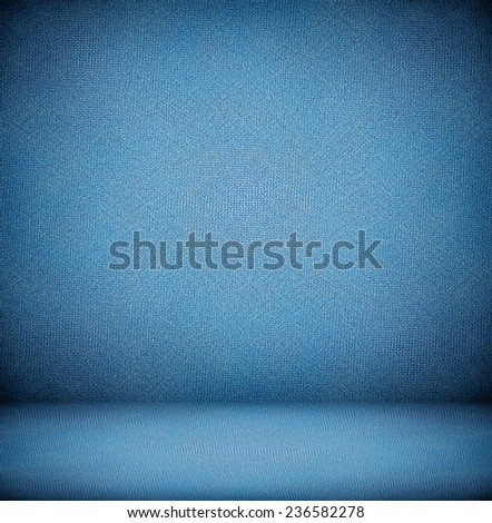 Abstract illustration background texture with bright center spotlight of dark blue and black vignette border frame in gradient wall flat floor Empty light spacious fairy room decorative color interior - stock photo