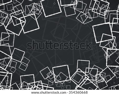 Abstract illustration background with squares on black background - stock photo