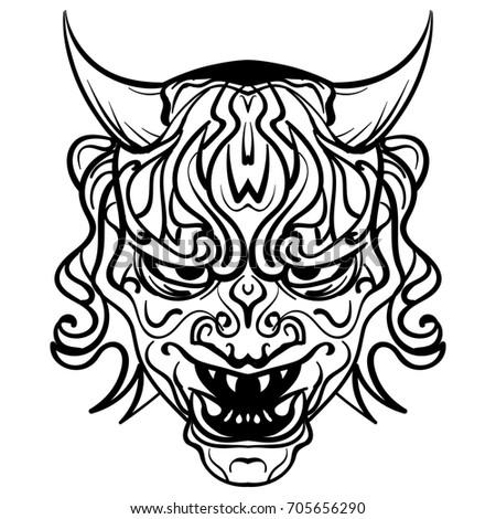 abstract illustration black white skull demon stock illustration 705656290 shutterstock. Black Bedroom Furniture Sets. Home Design Ideas