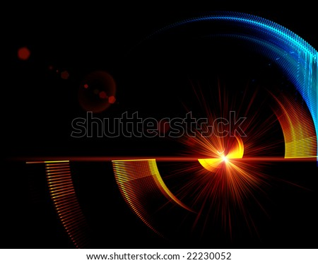 Abstract illustration, blue and red mechanism in rotation - stock photo