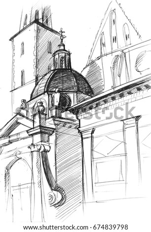 Abstract illustration depicting ancient architecture. Old Catholic cathedral with domes. Sketch hand drawing.