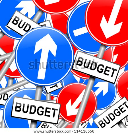 Abstract illustration depicting many roadsigns with a budget concept. - stock photo