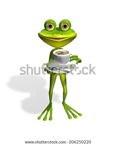 abstract illustration frog with a cup of coffee - stock photo