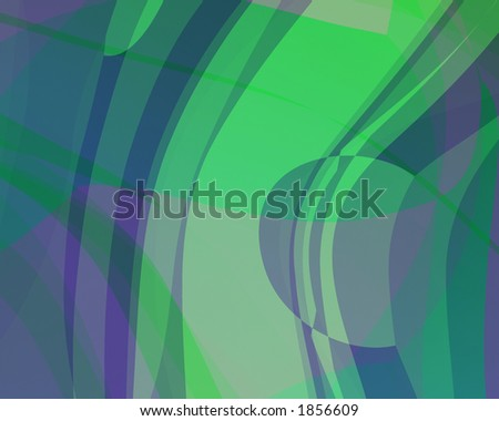 Abstract illustration: green-purple-blue. Bright.