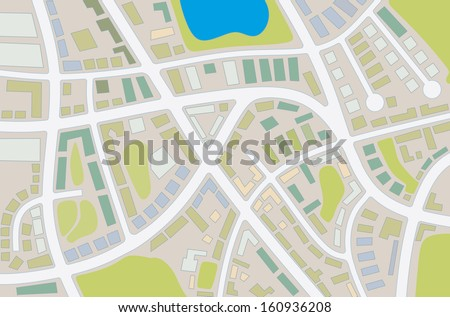 abstract illustration of a city map with details - stock photo