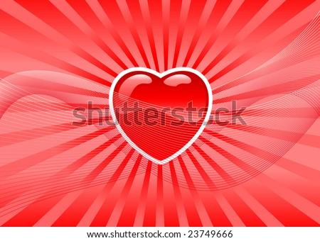 Abstract illustration of a valentine's heart over a red background