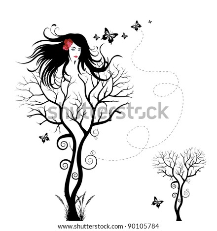Abstract illustration of a woman shaped tree - stock photo